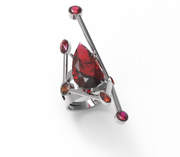 jewelry rendering cad Rhino5 keyshot garnet