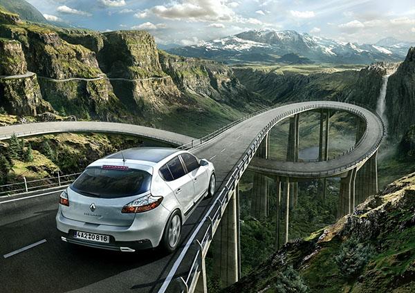 3D car renault Nature Mattepainting photo bridge