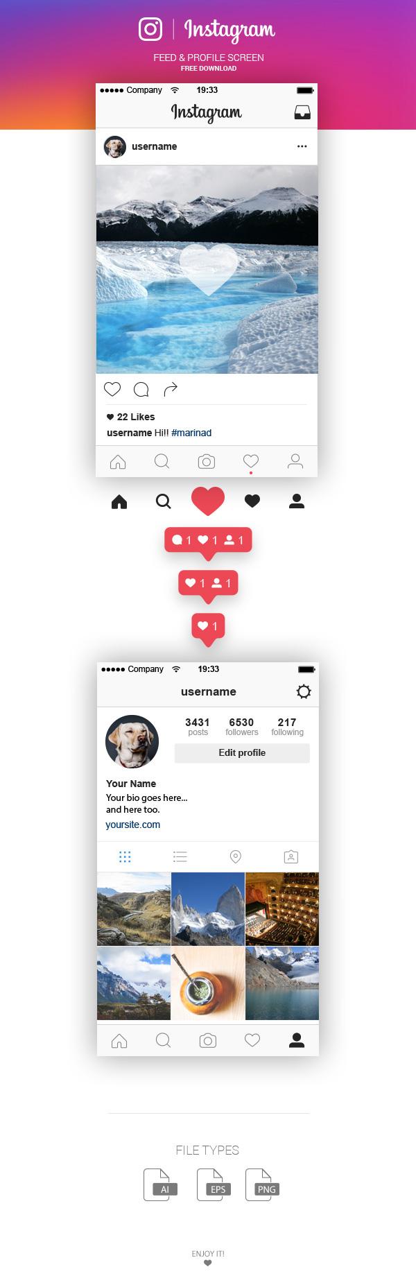 instagram UI ui kit download free ilustrator vector Layout screen freebie