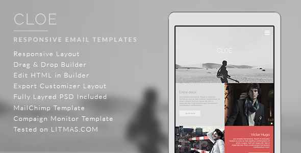 Cloe - Responsive Email Template + Builder Access on Behance