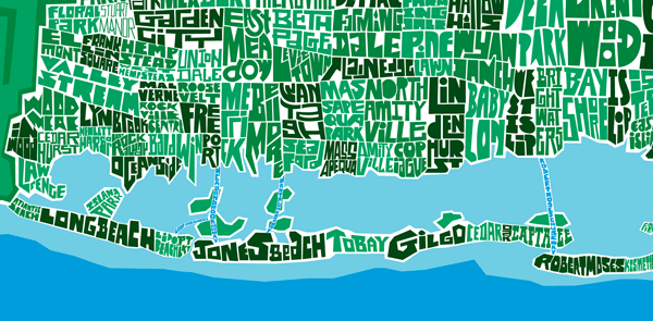 Map Of South Shore Of Long Island Long Island Type Map on Behance