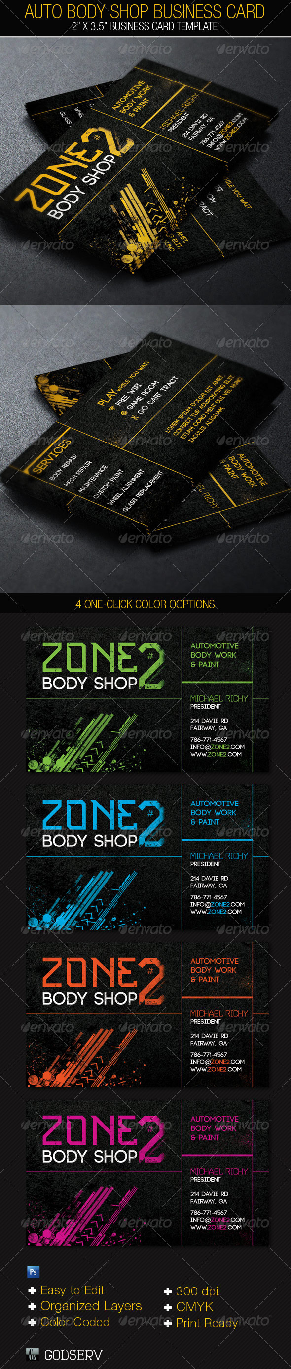 Auto body shop business card template on behance colourmoves