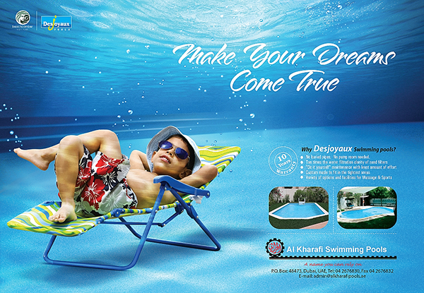 Al kharafi swimming pool press campaign on behance for Creative pool design jobs