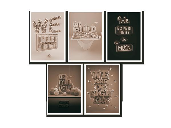 graphic design we build ideas experiment 3D digital art Freelance italia emilio cassanese Work  studio