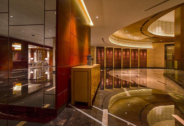 Function areas hotel meeting rooms lounge chandelier lighting furniture escalator