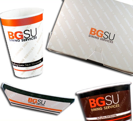 I designed the artwork for all the paper products for Bowling Green State University Dining Services. Designs included paper cups to-go boxes ... : bowling paper plates - Pezcame.Com