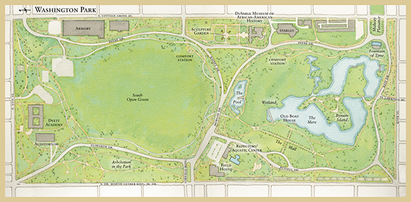 Chicago Parks Map Map of Washington Park for the Chicago Park District on Behance