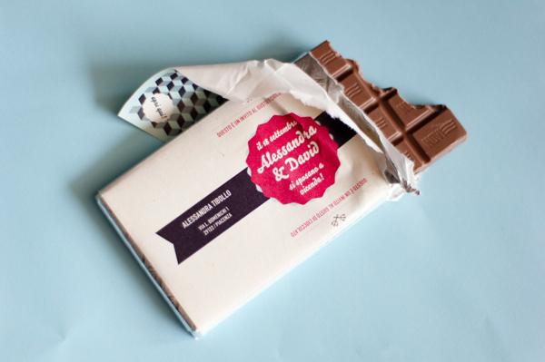 Wedding invitations on chocolate bars on Behance