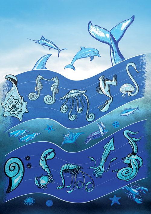 Ocean's symphony, sea animals forming a music score