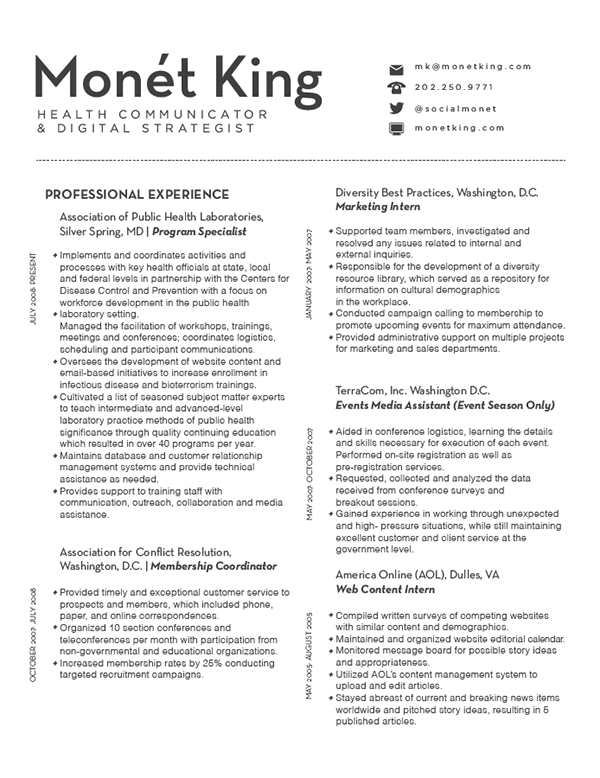 this was a freelance design for health communicator and digital strategist monet king - Digital Strategist Resume