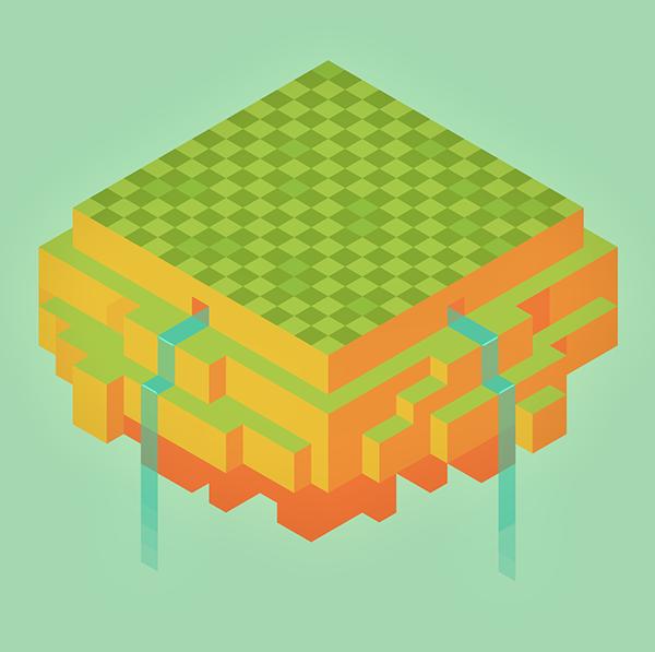 araceli isles Indie game hexels concept art Qubicle 3d modeling cute
