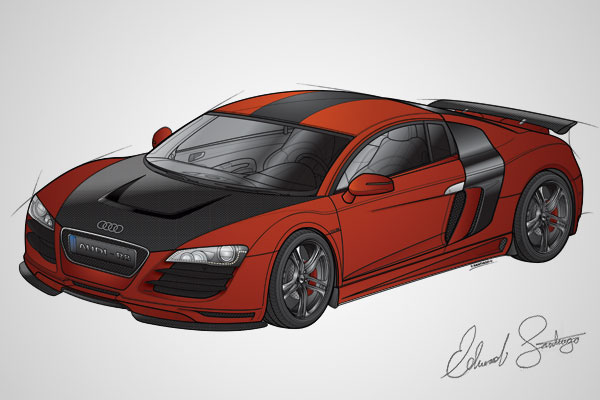 digital paint photoshop portrait characters vehicles Audi Cars Paintings robot phone vector raster line art
