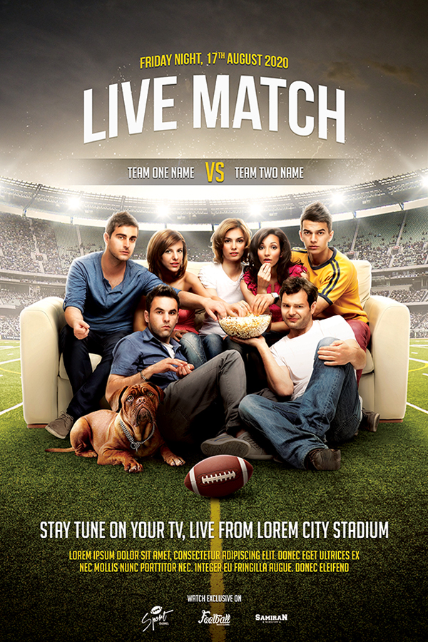 Live Match Football Flyer Template On Behance