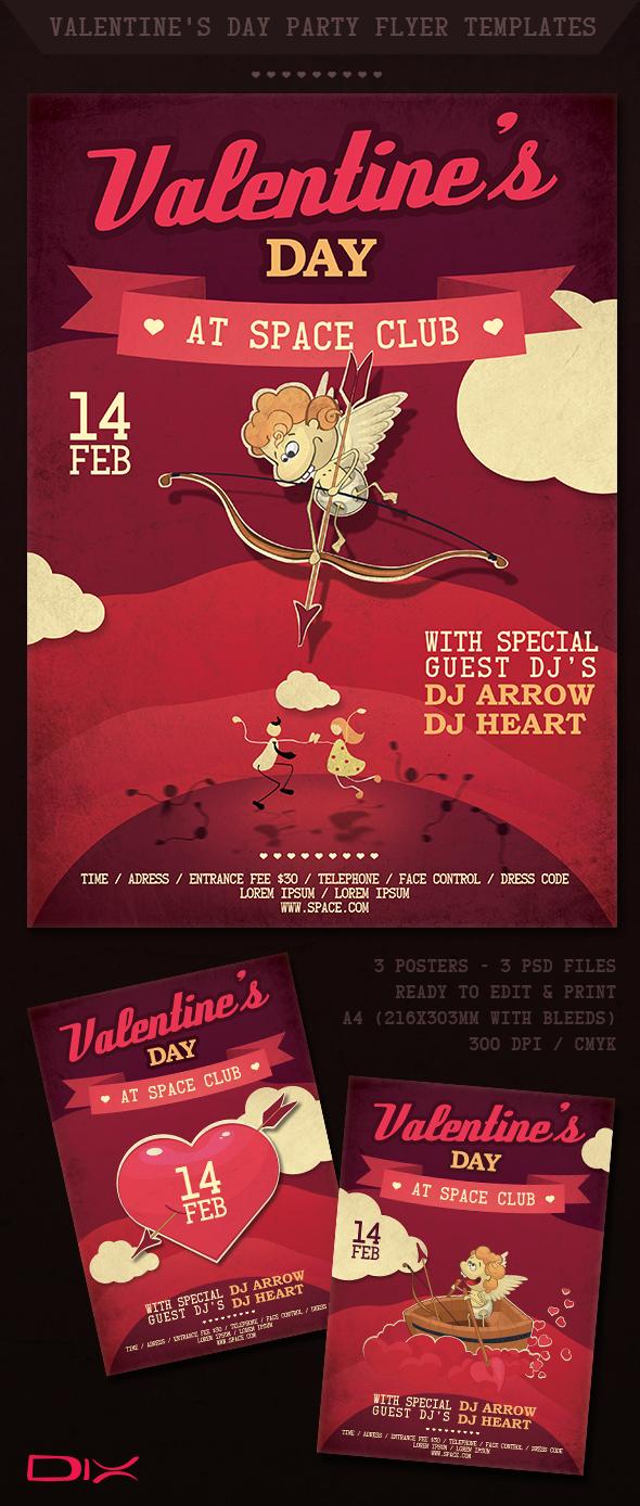 valentine u0026 39 s day party flyer templates on behance