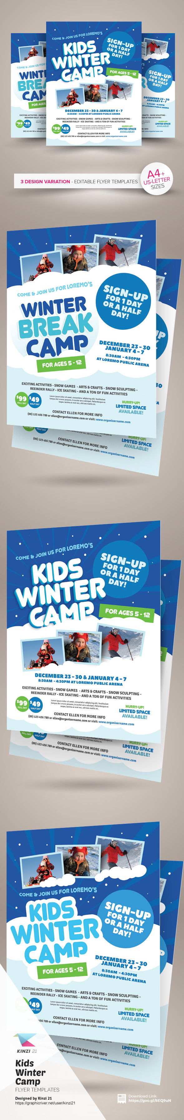 kids winter camp flyer templates on behance kids winter camp flyer templates are fully editable design templates created for on graphic river more info of the templates and how to get the