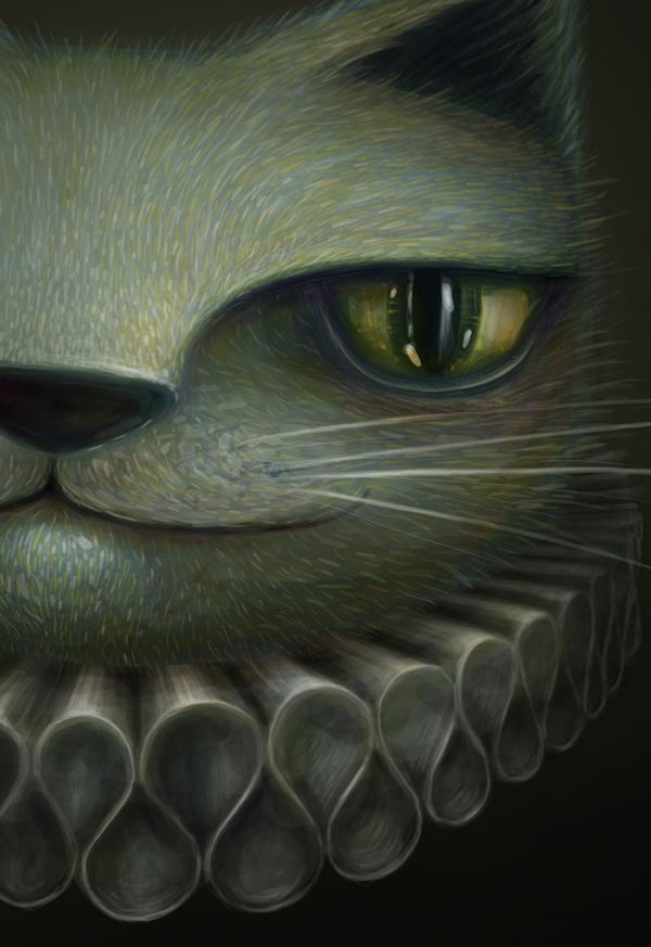 portrait digital painting Cat bird bear