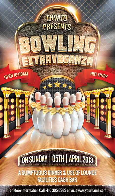 Bowling Extravaganza Flyer Template On Behance  Bowling Flyer Template Free