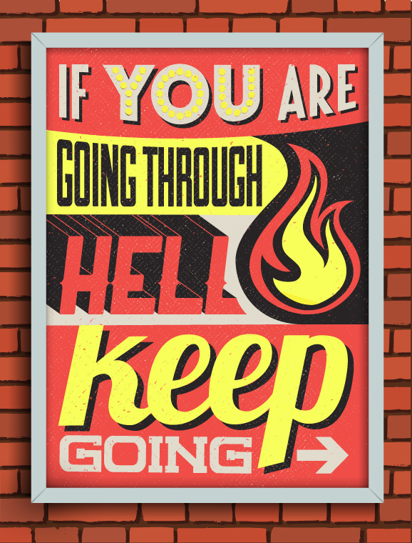 word type font color Retro sign decor frame vector design typographic poster motivation text vintage