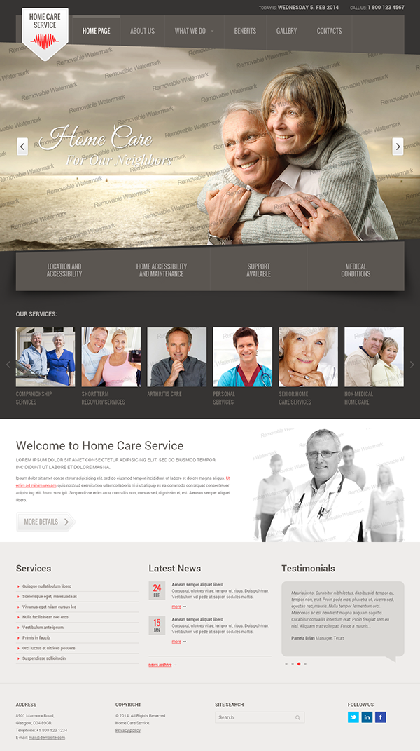 home care service html template on behance
