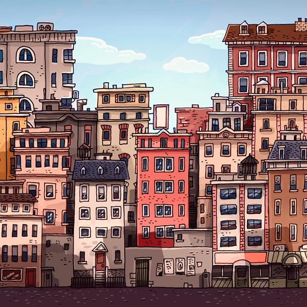 city Sand City gatotonto sketches art Landscape wacom photoshop poster night lights