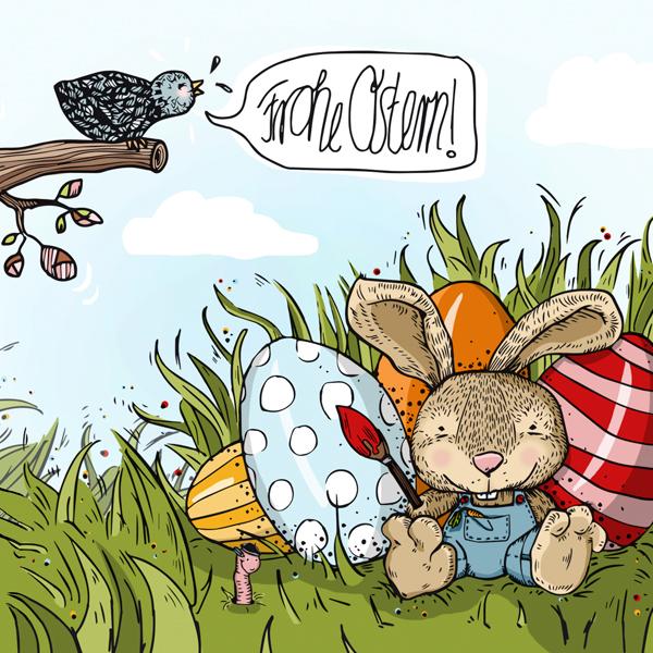ecard, postcard,Easter,egg,bunny,bird,worm,gras,Sunny,spring,greetings