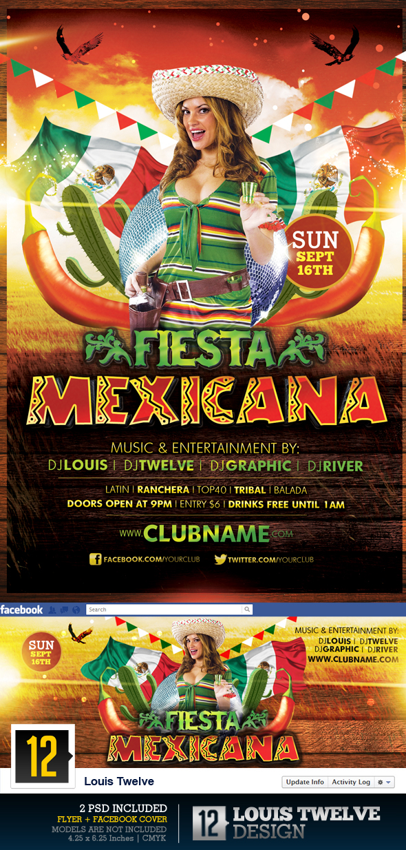 Fiesta Mexicana Flyer Facebook Timeline Cover On Behance