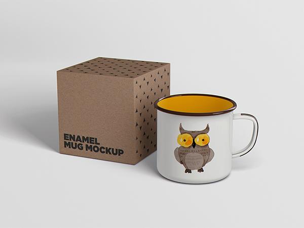 Enamel Mug Tin Cup Mockup On Student Show