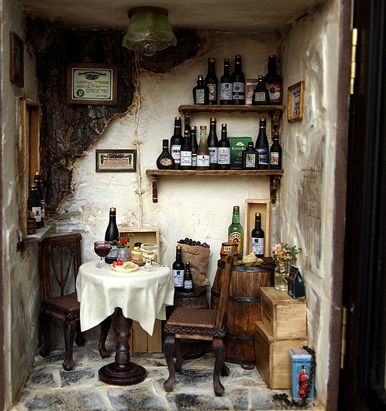 Vintage country small wine shop ooak wine bar on behance Miniature room boxes interior design