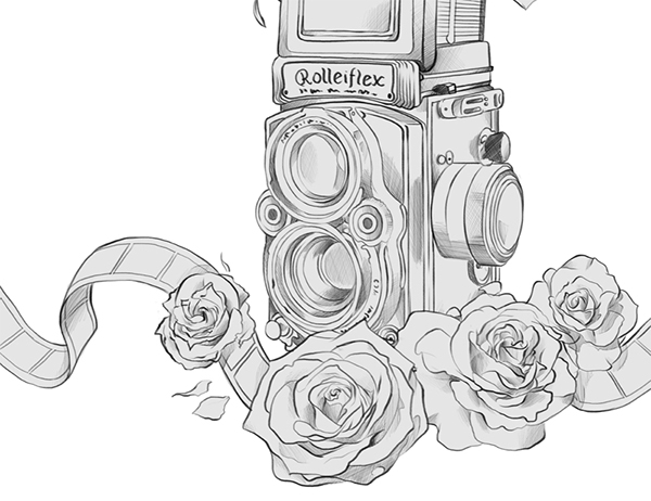 Rolleiflex Camera Drawing Tattoo Design Done For The