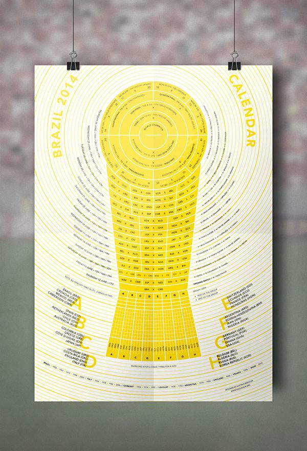 world cup Brasil 2014 fooball calendar Fixture soccer free trophy infographic wallchart