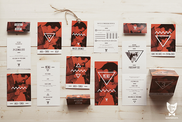 wedding Stationery red orange Invitation card places rsvp save the date pin brooch wedding invitation Table Numbers alcohol tags menu FOX