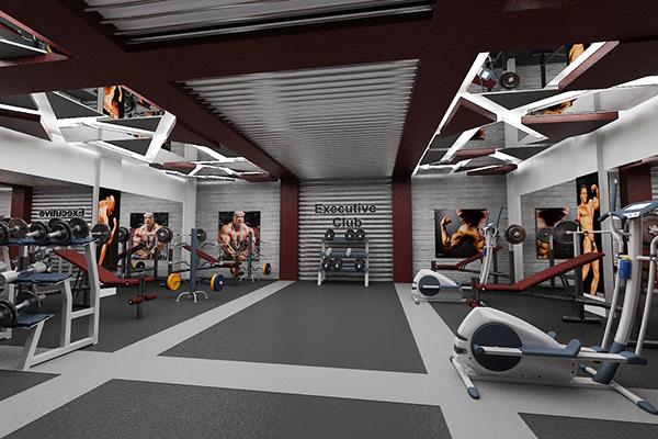 Executive club gym interior design at f 10 on behance for Gym interior design