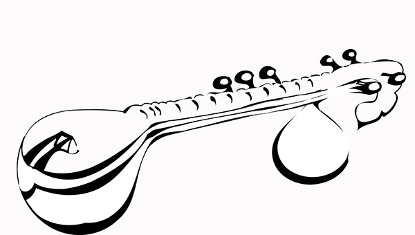 how to draw veena musical instrument