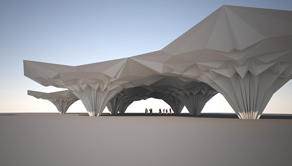Concept Design For Origami Fold Inspired Architecture A Part Of My Thesis Study Pavillion To Be Built In Real Scale As Masters