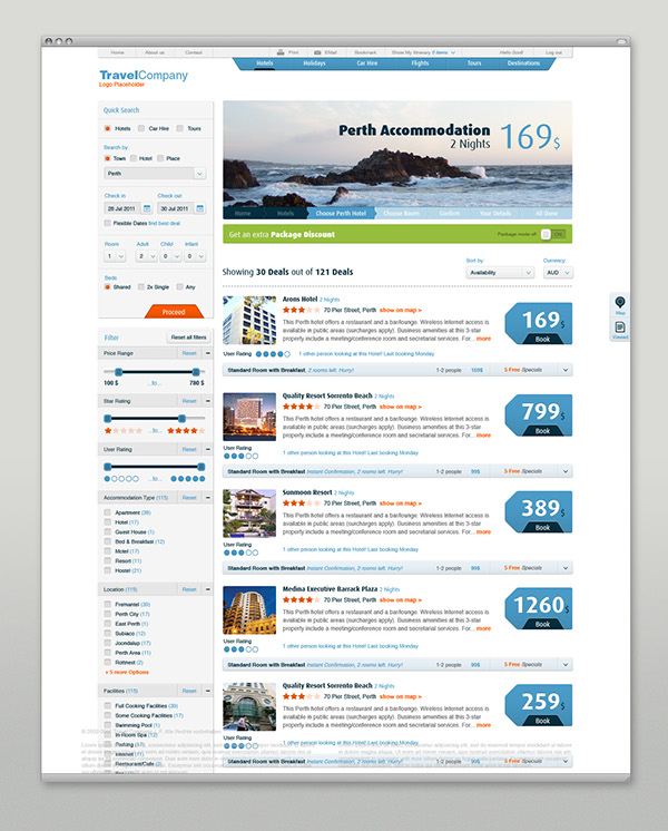 Travel Booking user interface user experience information design hotel flight vacation Holiday