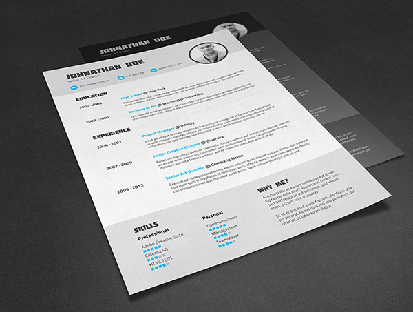 resume cv template on behance