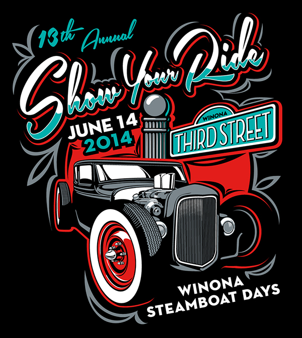 car show t shirt design for the steamboat days car show in