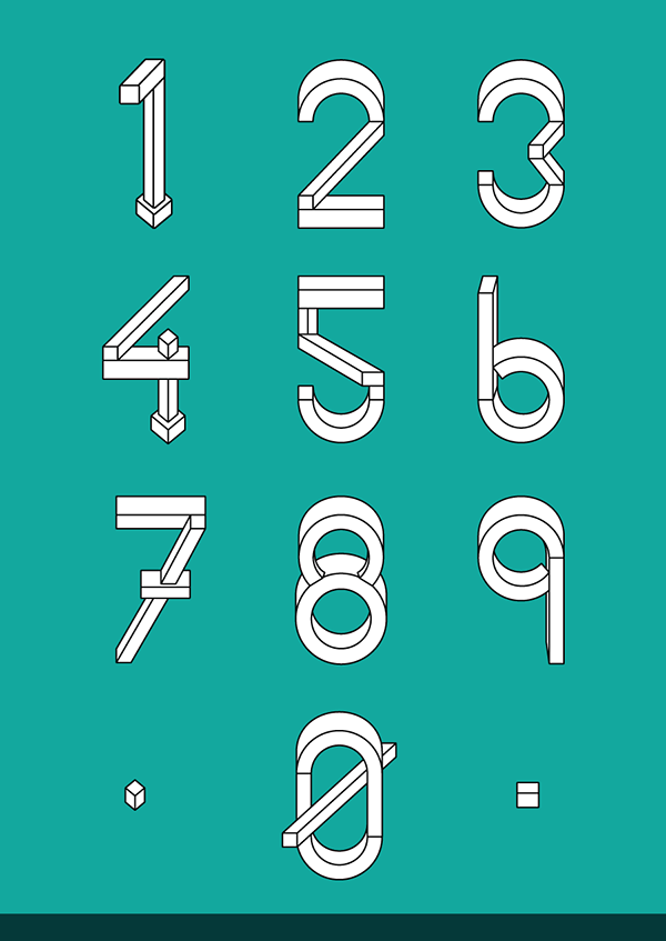 Chisel handset type design of number on behance for Blueprint number