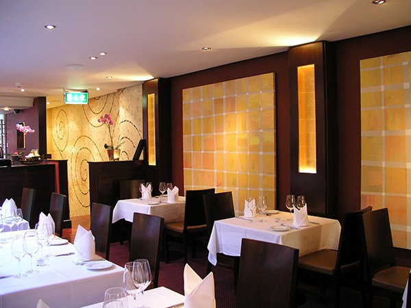 Indian summer restaurant was a full scale interior design project incorporating artwork mosaic for Small indian restaurant interior design