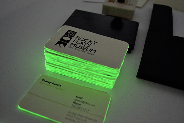 Rocky flats museum on behance the business cards for the board members of the museum have a glow in the dark core which was a tongue in cheek way of reflecting the theme of nuclear colourmoves