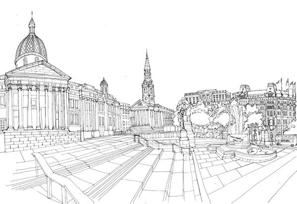 Line Drawing London : Trafalgar square panorama on behance