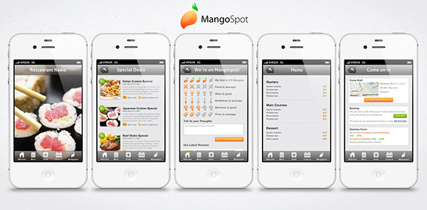 Mangospot restaurant app on behance