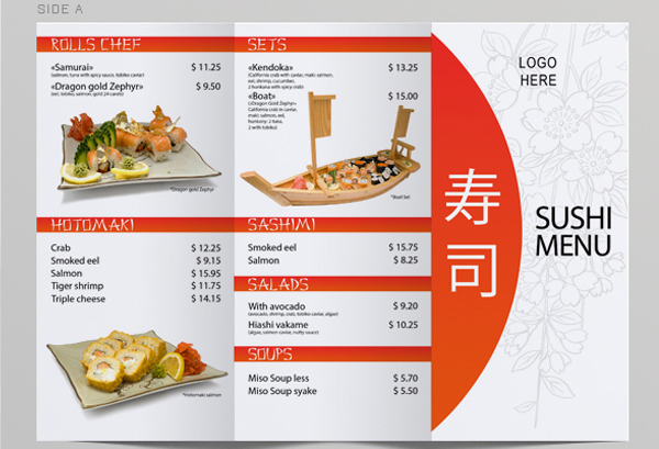 Tri Fold Sushi Menu Template On Behance  A La Carte Menu Template
