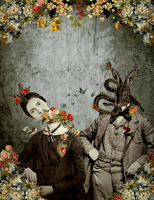 collage vintage Flowers rabbit