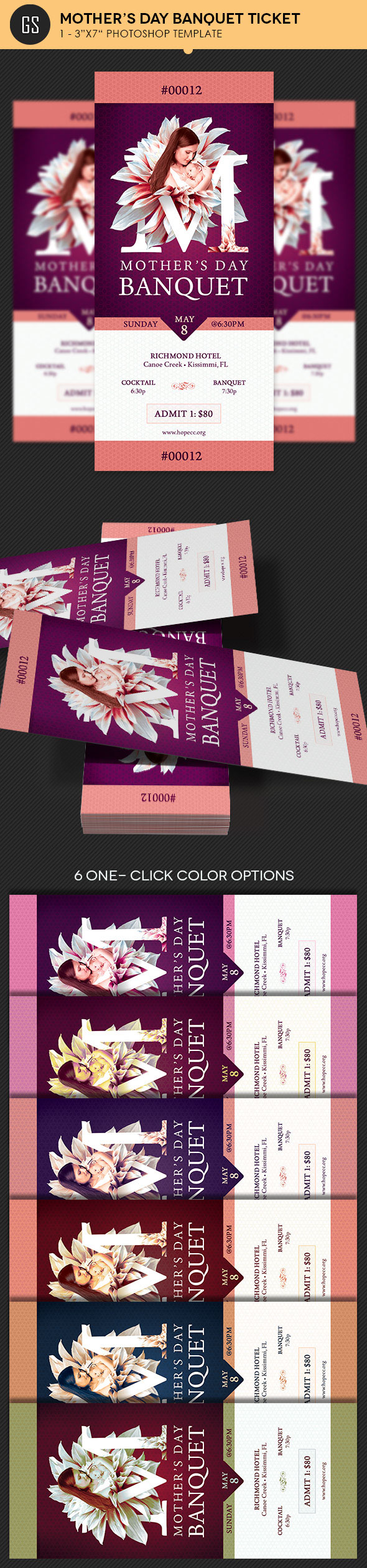 mothers day banquet ticket template on behance