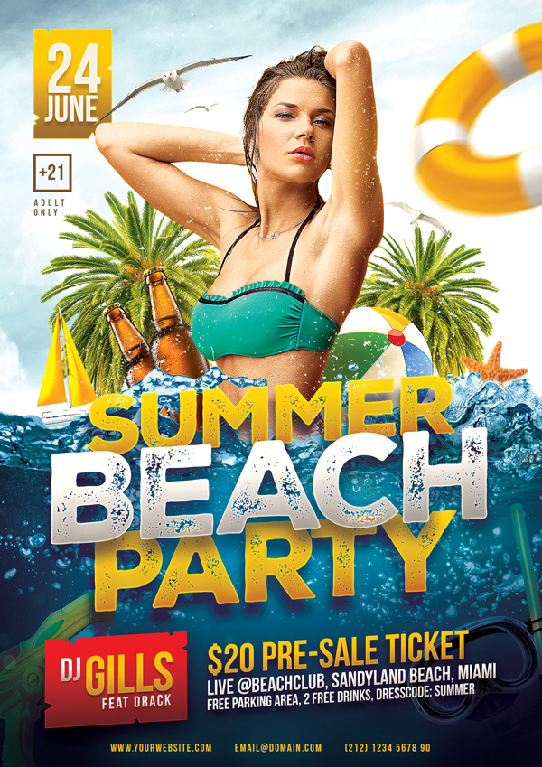 Summer Beach Party Flyer Template On Student Show