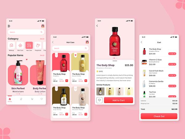 Cosmetic & Beauty Shop App Design