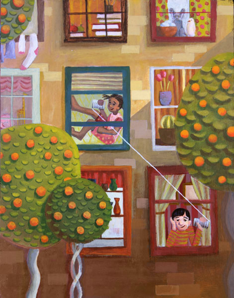 children Paintings acrylic color pencil drawings portfolio pattern narrative people animals layers Scenes whimsical Bicycle Flowers birds clocks buildings Fruit oranges snow taxi city trees house