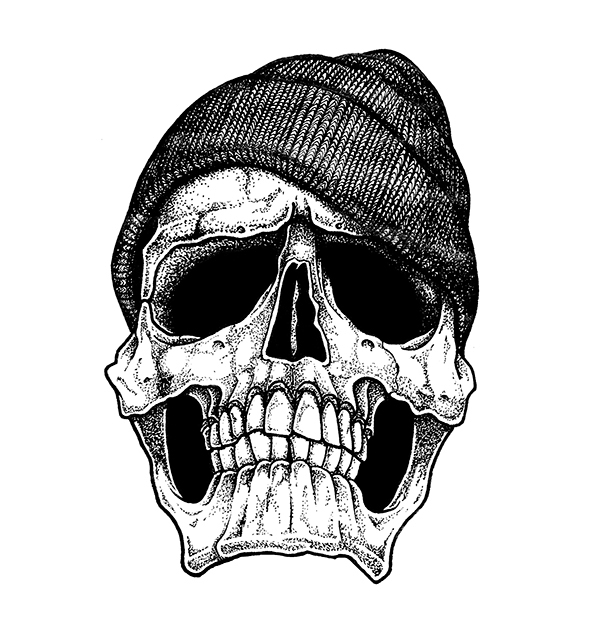Skull Designs Drawing The Skull With a Beanie on