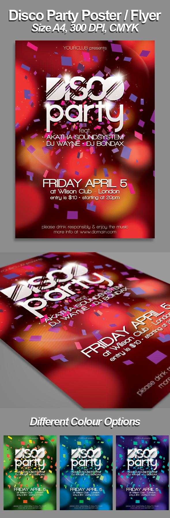 a4 disco flyer poster template psd on behance